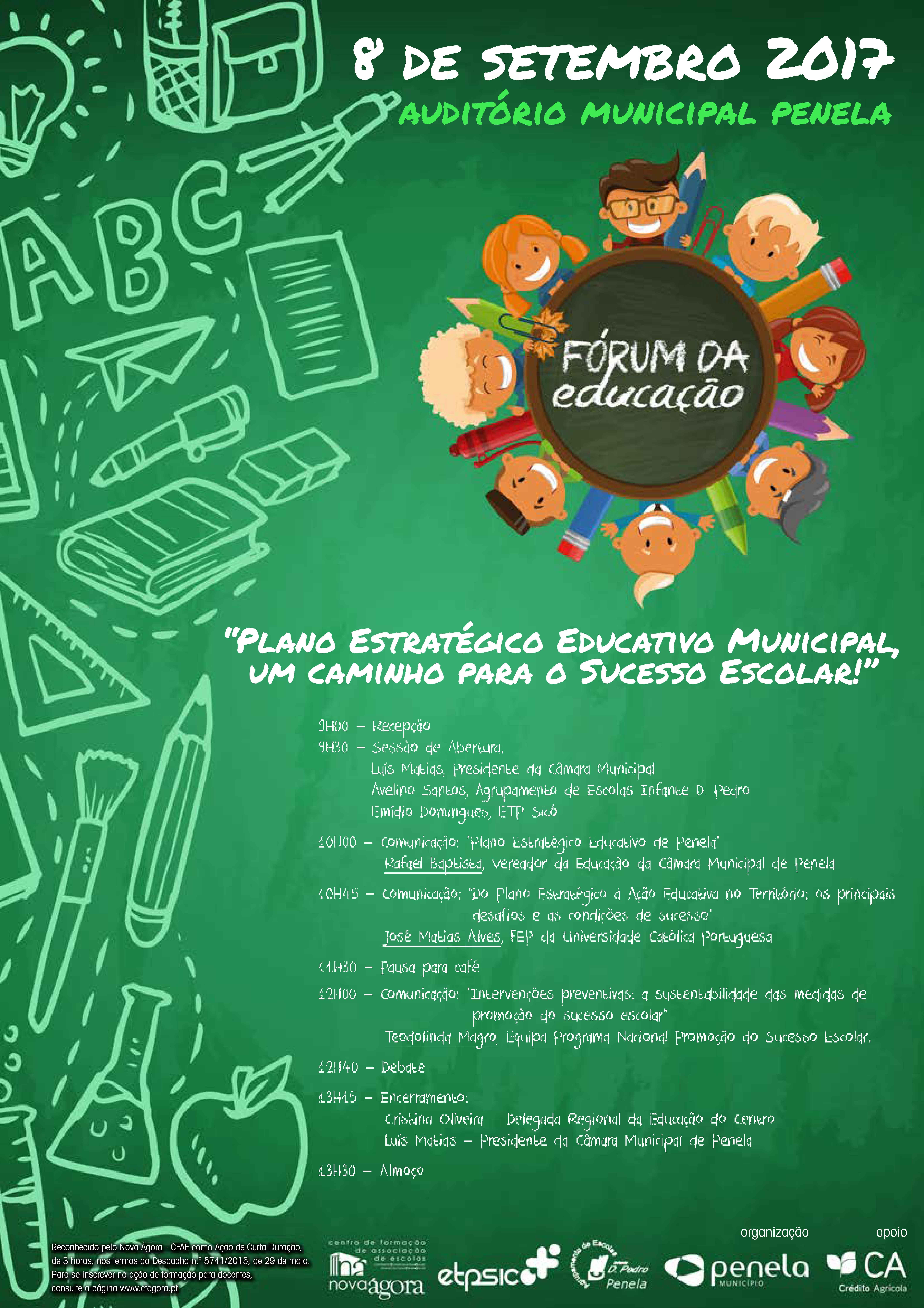 """XI Fórum da Educação - Penela: """"Plano Educativo Estratégico Municipal, um caminho para o sucesso escolar"""""""
