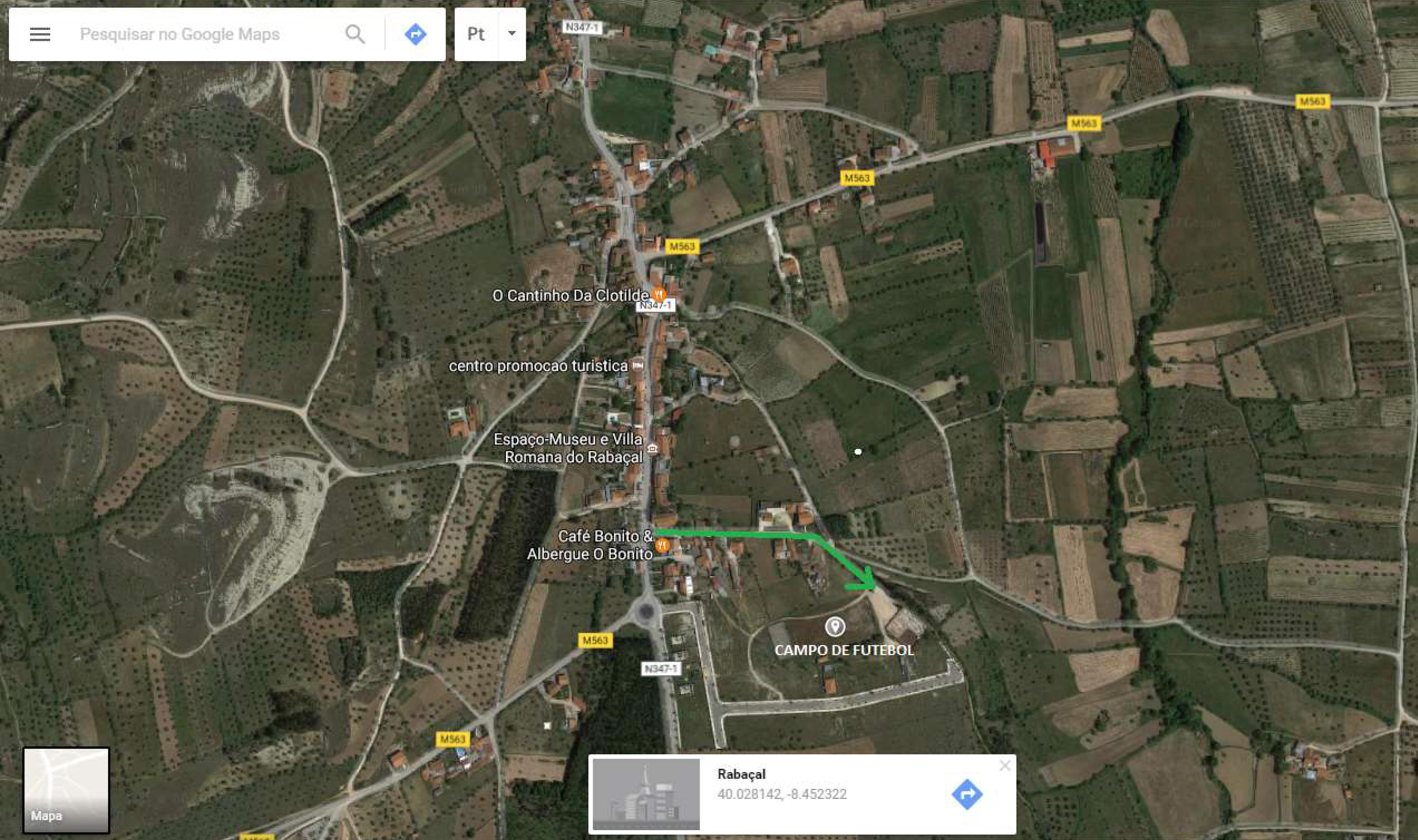 Mapa de localização do Mercado do Queijo Rabaçal e dos Romanos